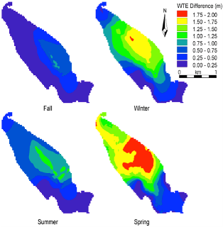 MIKE SHE surface water-groundwater modeling results displaying seasonal water table elevation differences between degraded and restored conditions